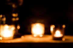 Bokeh candle light background, ideal for Christmas mood.  stock photography