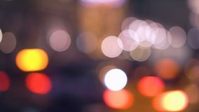 Bokeh from car light on traffic road stock video footage