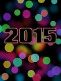 2015 bokeh card. Happy new year 2015 card with spectrum coloured bokeh background Stock Photo