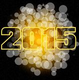 2015 bokeh card. Happy new year 2015 card with bokeh yellow background Royalty Free Stock Photos