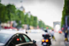 Bokeh Champs-Elysees, Paris Royaltyfri Fotografi