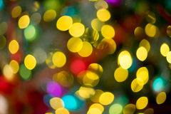 Bokeh Christmas interior decorated in many colors Royalty Free Stock Image