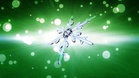 Bokeh Christmas Snowflake green background Stock Image