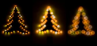 3 bokeh christmas trees Stock Photography