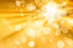 Bokeh circular abstrato no fundo amarelo Foto de Stock Royalty Free