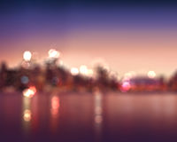 Bokeh City lights abstract. Circular bokeh on blue twilight background Royalty Free Stock Photography