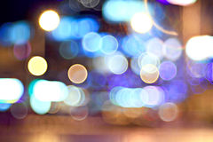 Bokeh city lights blurred background effect stock images