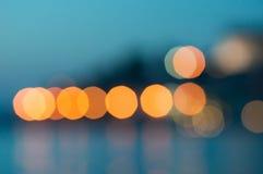 Bokeh city lights. Of Rovinj Stock Images