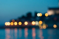 Bokeh coast lights Stock Photography
