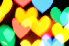 Bokeh coloré de coeurs Images libres de droits