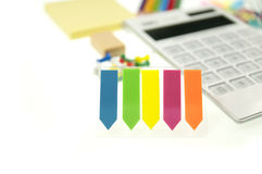 The bokeh colored bookmarks Stock Photos