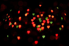 Bokeh of colorful hearts Stock Photography