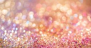 Bokeh Colorfull золота яркого блеска запачкало абстрактную предпосылку для bir стоковая фотография rf