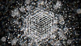 Bokeh colorido de la falta de definición del cubo de la rejilla del átomo defocused en fondo negro Imagen de archivo