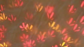 Bokeh colorido de las guirnaldas del centelleo en la forma de la flor usada como fondo, marco completo almacen de metraje de vídeo