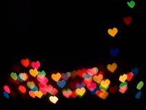 Bokeh colorido de los corazones Foto de archivo