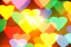 Bokeh colorido dos corações Imagens de Stock Royalty Free
