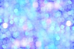 Bokeh colorido no fundo azul Imagem de Stock Royalty Free