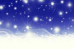 Bokeh d'étoiles et illustration de neige illustration de vecteur