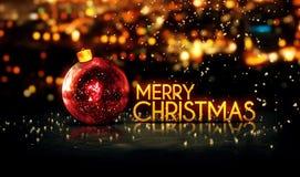 红色金子圣诞快乐Bokeh美好的3D背景 库存图片