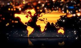 世界地图金城市光亮光Bokeh 3D背景 库存图片
