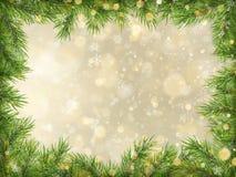 Bokeh d'or de Noël avec le fond de cadre de branches d'arbre ENV 10 illustration stock