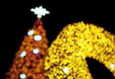 Bokeh da árvore e da decoração de Natal Imagens de Stock Royalty Free