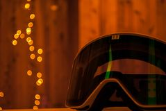 Bokeh de óculos de proteção do esqui imagem de stock royalty free