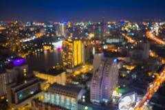 Bokeh de la ciudad de Bangkok céntrico Imágenes de archivo libres de regalías