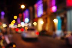 Bokeh de la luz de la noche de la ciudad del vintage Fotos de archivo