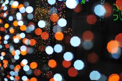 Bokeh de la luz del bulbo en evento del festival del partido Imagenes de archivo