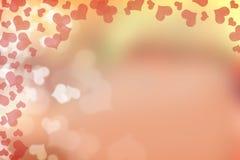Bokeh de los corazones de la tarjeta del día de San Valentín Imágenes de archivo libres de regalías