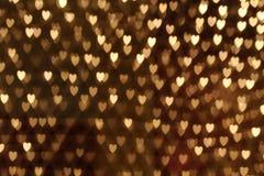 Bokeh de lujo de la forma del corazón, tarjeta del día de San Valentín Fotografía de archivo libre de regalías