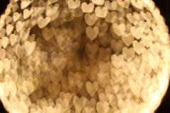 Bokeh de lujo de la forma del corazón, tarjeta del día de San Valentín Fotos de archivo libres de regalías