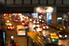 Bokeh de lumière de nuit de route, fond defocused de tache floue Images libres de droits