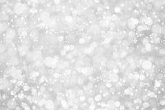 Bokeh de prata branco do brilho com estrelas Imagem de Stock