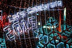 Bokeh Defocused delle luci (nuovo anno 2015 di celebrazione) Immagini Stock