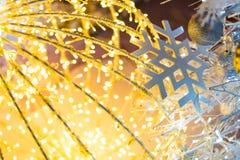 Bokeh defocused gold. Christmas background Royalty Free Stock Image