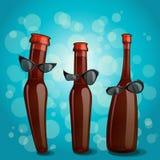 Bokeh degli occhiali da sole della bottiglia Fotografia Stock Libera da Diritti