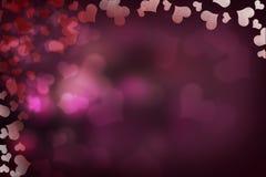 Bokeh dei cuori del biglietto di S. Valentino Fotografia Stock