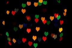 Bokeh del fondo de los corazones Foto de archivo