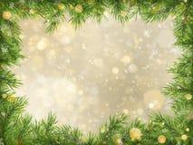 Bokeh del oro de la Navidad con el fondo del marco de las ramas de árbol EPS 10 ilustración del vector