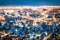 Bokeh dell'orizzonte di Cape Town dalla collina del segnale dopo il tramonto Fotografia Stock Libera da Diritti