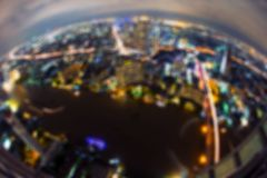 Bokeh delle costruzioni, città di Bangkok, Tailandia immagini stock