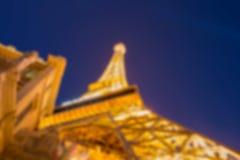 Bokeh delle costruzioni, torre Eiffel, striscia di Las Vegas Fotografia Stock