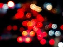 Bokeh des Autolichtes im Stau auf der Straße Lizenzfreie Stockbilder