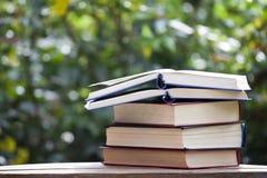 Bokeh di legno dell'albero della tavola del libro nessuno fotografie stock libere da diritti