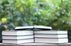 Bokeh di legno dell'albero della tavola del libro nessuno immagini stock