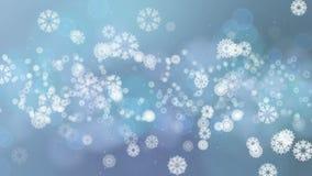 Bokeh di Natale con i fiocchi di neve di caduta per la celebrazione o l'animazione di saluti illustrazione di stock