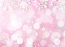 Bokeh do Natal no fundo cor-de-rosa imagem de stock